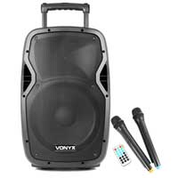 Vonyx AP1200PA Portable PA System with Bluetooth + Wireless Mics