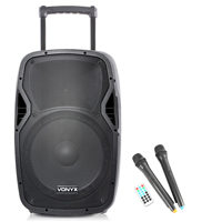 Vonyx AP1500PA Portable PA System with Bluetooth + Wireless Mics
