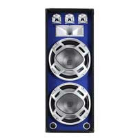 Skytec Dual 15 Inch 3-Way Blue Sound Reactive LED Disco Karaoke PA Speaker 1000W