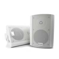 White Skytec Active Powered Wall Mountable Speakers 100W Home Hi Fi Stereo PA
