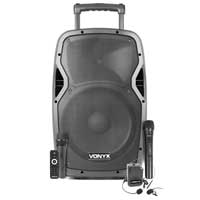 """Vonyx AP1200PA Portable Speaker 12"""" with Wireless Microphone & Headset"""