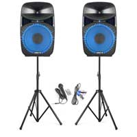 "Vonyx VPS152A 15"" Active Party Speakers with Stands"