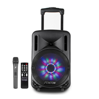 "Fenton FT10LED 10"" Bluetooth Active Portable PA Speaker 450W + Wireless Mic"
