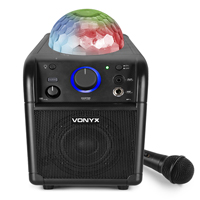 Vonyx SBS50B Kids Karaoke Machine with Lights & Bluetooth, Black