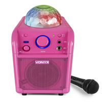 Vonyx SBS50P Bluetooth Party Speaker Led Ball Pink