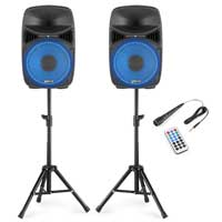 "Vonyx VPS102A 10"" Active Party Speaker Set with Stands"