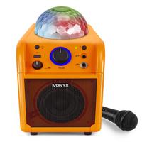 Vonyx SBS50L Kids Karaoke Machine with Lights & Bluetooth, Orange