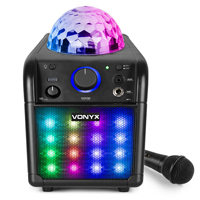 Vonyx SBS50B-PLUS Kids Karaoke Machine with Lights & Bluetooth, Black