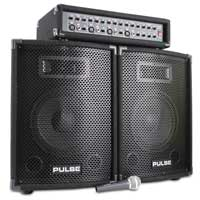 "Pair of Pulse 10"" Speakers + Mixer Amp + Microphone + Cables 200W"