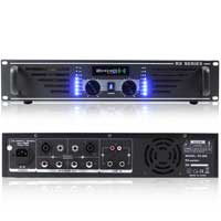 """Pair MAX 12"""" Mobile DJ Party Speakers Ekho RX600 Power Amplifier w/ Stands 1400W"""