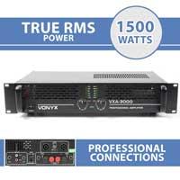 """2x Skytec SKY-3000 II Professional Disco DJ Amplifiers 19"""" Rack Amp 2 x 1500W"""