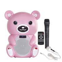Fonestar BEAR-400R Battery Powered Pink Bear Karaoke Speaker with Microphone