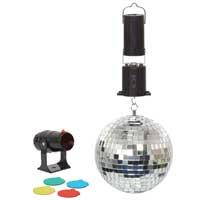 Cheetah Mirror Ball with 4 Colour Mini Spot Light 6 Inch