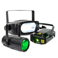 BeamZ Disco Party Lighting Package with Moonflower, Laser & Strobe