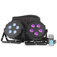 ADJ VPAR PAK LED Flat PAR DMX Light Set (x2) with Remote, Bag and Cables