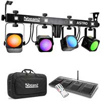 Beamz ASTRO 4x20w COB LED Par Bar with Strobe DMX Wireless Control