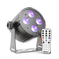 Beamz BAC404 DJ Disco Party Aluminum 4x 18W 6-in-1 LED Spot DMX RGBAW-UV Light