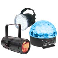 BeamZ Disco Party Lighting Package with Moonflower, Strobe & Starball