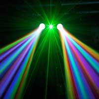 BeamZ 3-in-1 Double Moon LED DJ Light Moonflower, Laser & Strobe