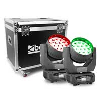 Beamz Professional MHL1915 LED Zoom Moving Head Lights in Flightcase