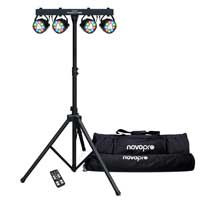 Novopro Partybar 100 DMX 48w RGBW, remote controlled lighting rig with bags