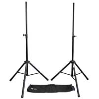 2x QTX Sound 35mm Pole Tripod Speaker Stands with Carry Bags 25kg Max