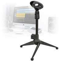 Microphone and Stand Podcast Home Studio Vocal Session Recording Desktop Editing