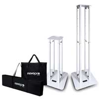 Novopro PS1XL Variable height podium stands white with 2 different scrims