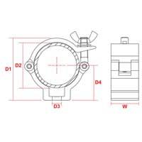 BeamZ BC50-100 Half Coupler Slimline 100kg Aluminium, Set of 10