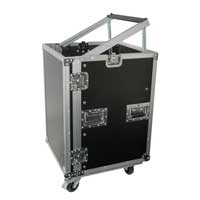 "Rack Case Combo 16 x 19"" Unit Mixer Mount Mobile DJ Studio Equipment on Wheels"
