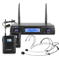 Vonyx WM62B Wireless Bodypack Microphone System, Set of 2 (UHF 16-Channel)