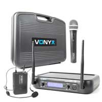 Vonyx WM73C Wireless Handheld & Bodypack Microphone System Set (UHF 2-Channel)