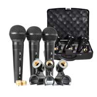 Vonyx VX1800S Set of 3 Dynamic Unidirectional Microphones with Carry Case and Clips