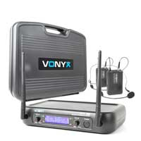Vonyx Wireless Headset Microphone System, Set of 2 (UHF 2-Channel)