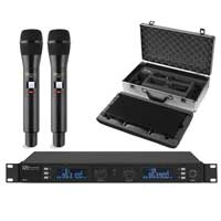 Power Dynamics PD632H 2ch Wireless Microphone UHF digital + 2 Microphones