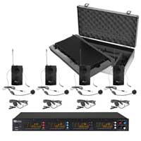 PD PD504B 4x 50-Ch UHF Wireless Microphone Set & 4 Bodypack Microphones