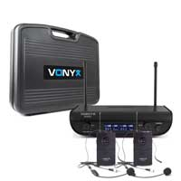 Vonyx WM82 Wireless Bodypack Microphone System, Set of 2 (UHF 2-Channel)