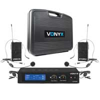 Vonyx WM522B Wireless Bodypack Microphone System, Set of 2 (VHF 2-Channel)