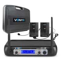 Vonyx WM512C Wireless Bodypack Microphone System, Set of 2 (VHF 2-Channel)