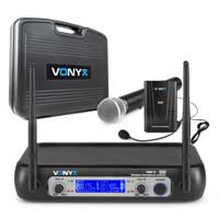 Vonyx WM512C 2-Channel VHF Wireless Microphone Set with Bodypack and Handheld Mic