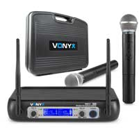 Vonyx WM512 2-Channel VHF Wireless Microphone Set with Dual Handheld Mics
