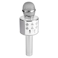 Max KM01 Kids Karaoke Microphone Silver - Bluetooth & MP3