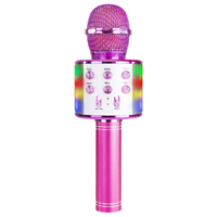 Max KM15P Kids Karaoke Microphone with Lights & Bluetooth, Pink