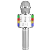 Max KM15S Kids Karaoke Microphone with Lights & Bluetooth, Silver