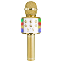 Max KM15G Kids Karaoke Microphone with Lights & Bluetooth, Gold