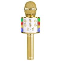 Max KM15G Kids Karaoke Microphone with Lights & Bluetooth, Gold