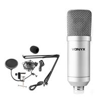 Vonyx CMS300S Condenser Studio Microphone Set, Silver