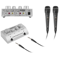 Vonyx Wired Karaoke Microphones, Mixer & TV Link Cables