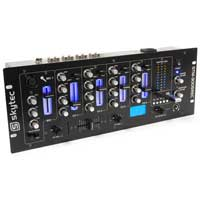 "Skytec 4 Ch 19"" DJ Mixer 3-Band EQ Crossfade Talkover Rack Mount USB MP3 Record"