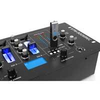 "Skytec 4 Ch 19"" DJ Mixer 3-Band EQ Crossfade Talkover Rack Mount USB MP3 Record"
